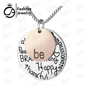 "Großhandel Two-Tone ""Be"" Graffiti Inspirational Charm Halskette Silber Rose Gold Anhänger Halskette, 10Pcs / Lot # LN908"