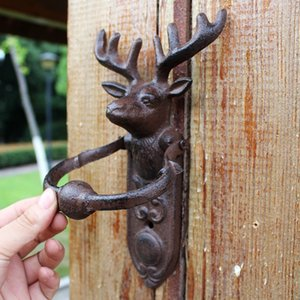 2 Pieces Cast Iron Reindeer Door Knocker Deer Stag Head Door Handle Door Latch Country Rural Metal Crafts Gate Decor Mounted Vintage Animal