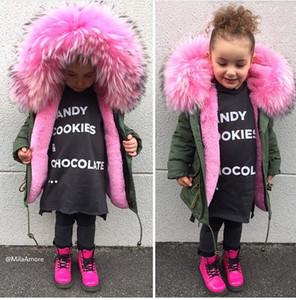 Inverno Ragazzi Ragazze Donw Giacche Bambino Super Big Fur Parka Zipper Bambini Rosa Cappotti Filled Feather Fuax Fur Clothes