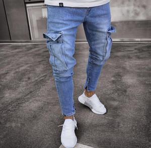 Hommes Jeans Solid Color Ripped Pocket Denim bleu Pantalon Hommes Slim Fashion High Street Biker Jeans Homme Pantalons longs Pantalons Jeans Crayon