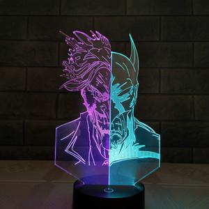 슈퍼 영웅 배트맨 조치 더블 컬러 3D 환상 테이블 램프 7 색 그라데이션 밤 빛 소년 남자 크리스마스 도매 Dropshipping를 피규어