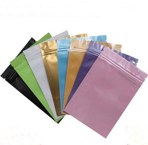 Blue Pink Gold Green black color Self Sealing bags flat bottom Aluminum foil small plastic bags