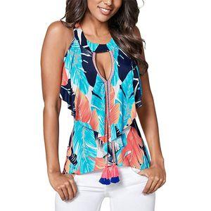 Vêtements pour femmes Casual Floral T-shirts à motif d'été femme creusée Tops manches courtes T-shirts