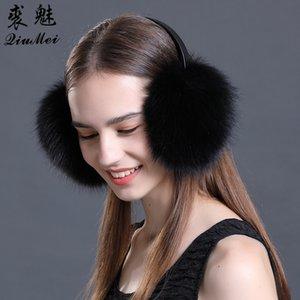 Gerçek Kürk Earmuffs Kış Aksesuar Kadınlar Kulak Kapak Koruyucu Sevimli Pembe Kulak Isıtıcı Katı Bayanlar Gerçek Kürk Raccoon Muffs
