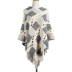 Womens Poncho Sweater 불규칙한 V 목 Tassels 긴 판초 케이프 뜨개질 우아한 코트 판쵸