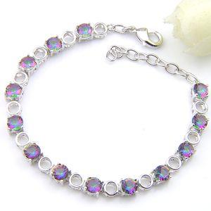 Luckyshine Runde Regenbogen Mystic Topaz Edelsteine Armbänder Silber für Frauen-bunten Zircon aushöhlen heraus Hochzeit Verbindungs-Armbänder Schmuck