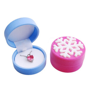 Women Ring Necklace Earring Stud Jewelry Box Velvet Snowflakes Display Storage Case Gift Boxes Christmas Wedding