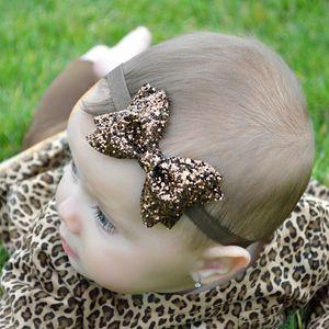 Лук Блестки Группа волос для девочек Bling Bowknot волос Аксессуары для волос обруч оголовье младенца 0-3T Периметр 15inch