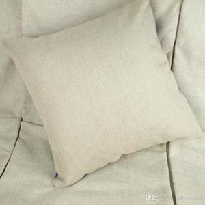 35x35 cm natural poli lençóis de linho fronha de almofada para DIY sublimação planície serapilheira capa de almofada bordados em branco frete grátis