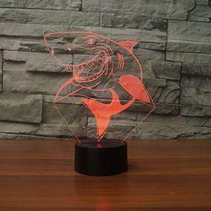 3D Sourire Requin Nuit Lumière Tactile Table De Bureau Optique Illusion Lampes 7 Couleur Changement De Lumières Décoration de La Maison De Noël Cadeau D'anniversaire