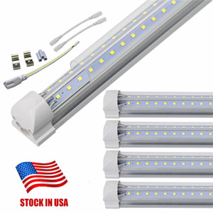 3ft 4ft 5ft 6ft 8ft T8 light Tube led v-shape Integrated cooler door LED Tubes Double Sides SMD2835 Led Fluorescent Lights 85-265V