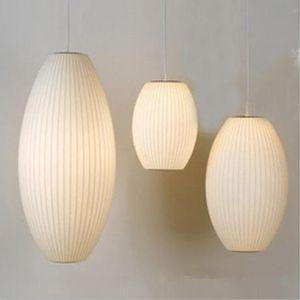 George Nelson Lampe Soucoupe E27 LED Pendentif Soie Blanche H60cm H65cm Pendentif Soie Blanche Lampe Lampe Soie Blanche suspendu Éclairage