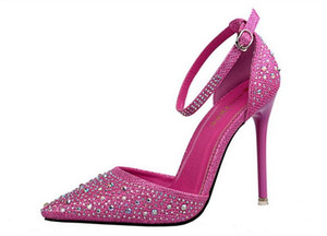 Europe and the United States shining diamond fine with high heel pointed hollow pierced with a sweet princess shoes