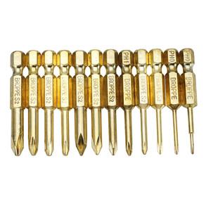 12pcs 골드 50mm 1.6-6.0mm 마그네틱 크로스 헤드 스크루 드라이버 비트는 1 / 4 인치 헥스 섕크