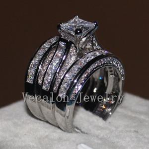 Vecalon joyería fina de corte princesa 20CT 5A Zircon CZ Anillo de boda del sistema del anillo de oro blanco 14KT de las mujeres anillo de dedo Lleno