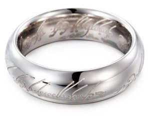 Fashion Titanium The Hobbit Lord of the Rings finger 6mm silver band rings movie jewelry birthday party letter text ring wholesale free ship