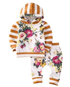 الأطفال بابيس الفتيات الملابس مجموعات كم طويل عادية سروال القطن مقنع البلوز الزهور تتسابق فتاة كيد الطفل مجموعة ملابس 2PCS