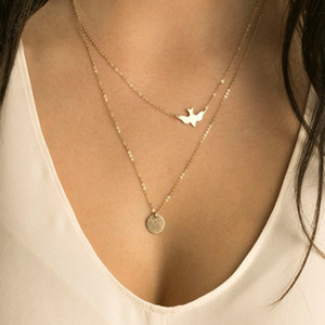 Al por mayor-NK123 Punk Collares de múltiples capas para las mujeres Pigeon Birds de la paz Collares Minimalist Jewelry Circle Dainty colgante collar de regalo