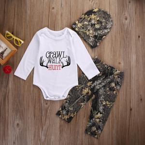 Neonato Neonati che coprono il Natale del bambino romper + Pants + Hat 3pcs del Outfit Infant Boutique Costume bambini casual XMAS i pigiami