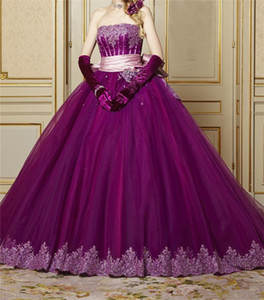 Strapless Purple Quinceanera Dress with Appliques Beading Lace Bow Back Sweet Debutante Dress Party Gowns Graduation Prom Dress Custom Size