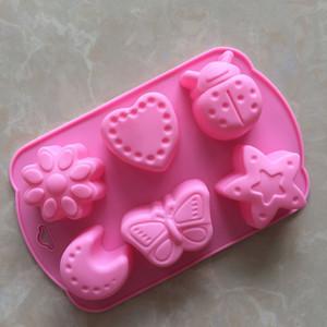 Diy silicone molde do bolo moldes de chocolate pudim de geléia moldes 6 sulcos insetos borboleta lua em forma de estrela za6678