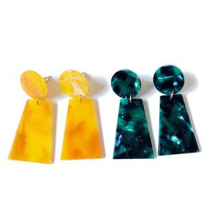 Бесплатная Доставка Новый Элегантный Желтый Зеленый Геометрические Смолы Сладкий Цвет Оптовая Серьги, Довольно Серьги Для Женщин