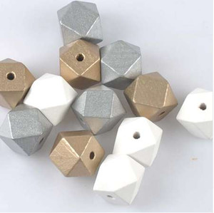20mm 10pcs Gold Silver White Natural Faceted Wooden Unfinished Geometric Spacer Beads For Jewelry making Handmake DIY MT2020X