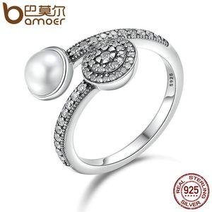 Bamoer 100% 925 ayar gümüş aydınlık glow, beyaz crystal clear cz açık parmak yüzük kadınlar için yıldönümü takı pa7640 d18111306