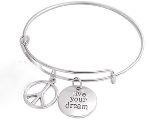 Vintage Silver vivre votre rêve signe de la paix bracelets extensible fil bracelet punk manchette de mariage bracelets pour femmes bijoux cadeau de mode