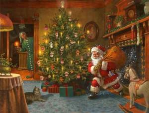 Weihnachtsmann mit Weihnachtsbaum Reine handgemalte Porträtkunst Ölgemälde auf Leinwand, Home Decor Wandkunst Multi Größen / Rahmen Option