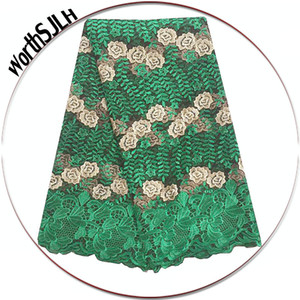 WorthSJLH Latest African Lace Fabric 2017 High Quality Lace Embroidered Green Purple 2018 French Guipure Nigerian Lace Fabrics