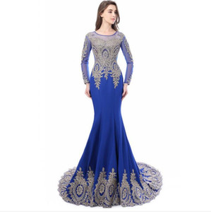2018 Cheap Mermaid Prom Dresses Sheer Scoop Long Sleeves Appliques lace Long Evening Gowns Illusion Back Party Dresses Real Photo
