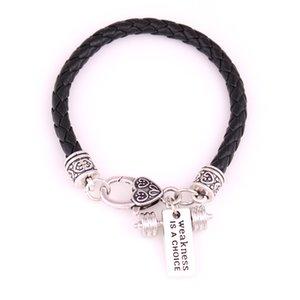 """아름다운 가죽 체인 꼰 교차 적합성 휘장 Dumbell Barbell Charm Pendant Bracelet """"약점은 선택"""""""