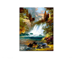 Waterfall Free Shipping,Hand-painted & HD Print Modern Abstract Landscape Art oil painting On Canvas Home Decor Wall Art Multi sizes l200