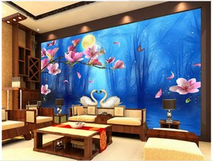 papel de parede 3D Custom Photo mural Wallpaper Swan Lake Orchid Dreamy Blue fondos de pantalla para sala de estar Fondo Papeles de pared decoración del hogar