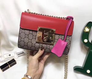 blooms Tian candado cadena bolso crossbody bolsos de hombro mujeres carta impresión bolsos de alta calidad de cuero genuino solapa bolsas de mensajero