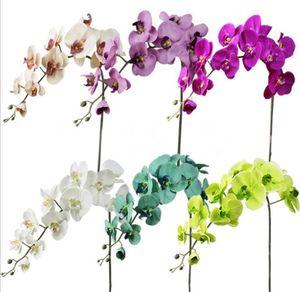 İpek Phalaenopsis Orkide Çiçek Tek Düğün Centerpieces Yapay dekoratif çiçekler için Güve Orkide Stem / mavi / beyaz mor / yeşil