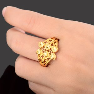 New Arrival Pretty Gold Filled Wedding Rings For Women Girls Love Heart Knot Hollow Vogue Midi Vintage Decoration Jewelry CHR114