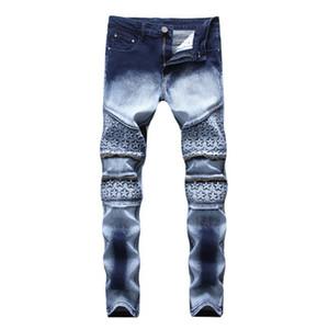 Star imprimé Pantalon droit Jeans New Fashion Cool Streetwear Hommes Bleu Foncé Et Blanc Haute Élastique Demin Slim Fit Jeans Leggings