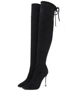 Stiefel über Knie hoch und dünne Beine elastische Stiefel dünn und sexy plus Samt zeigen dünne Schnürstiefel aus Leder.