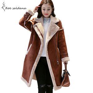 Zoe Saldana 2018 Faux Leather Suede Long Coat Women Thick Lambs Wool Suede Jackets Female Winter Warm Motorcycle Jackets