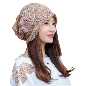 Turban Hat lace flower slouchy baggy beanie Turban sombreros para mujeres beanie hat beanies para damas Y18102210