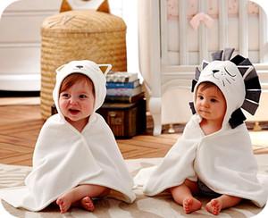 Hot Baby Terry Cartoon Lion Cat modelado blanco con capucha con sombrero de oreja lindo toalla de baño pequeños niños con manta 84 * 58 cm