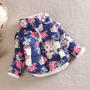 Girls Warm Coat 2018 New Baby Winter Long Sflower Jacket Children Cotton-padded Clothes Kids Christmas Outwear