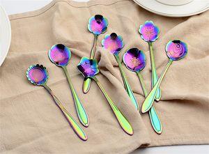 Arco iris color de los pétalos de la cucharada de chapado en oro rosa de oro Tipo de cucharas de café de acero inoxidable Postre Stir Herramienta 2 X 6WL