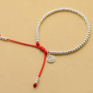 Toute venteNew S925 Perles En Argent Sterling Bracelet À La Main Chanceux Rouge Corde Bracelet NJewelry