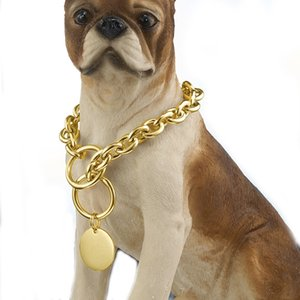 Granny Chic Customize Size 15mm Gold Tone Curb Cuban Link 316L Stainless Steel Dog Pet Chain Collar Jewelry