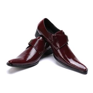 Новый Итальянский Натуральная Кожа Мужчины Оксфорд Обувь Бизнес-Офис Формальные Туфли Monk Ремень Мужчины Brogue Shoes Коричневый
