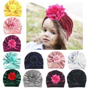 Ins Sonbahar Kış Bebek Bebek Pleuche Şapka Çiçek Turban Headwrap Şapkalar Kız Bebek Şapka Çocuklar Kap Kasketleri 11 Renkler