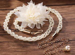2018 New Belt Luxury Desiger Belt Women Pearl Belts Fashion Accessory Waist Belts Chain Belts Stretch Waistband Women Dress Belt